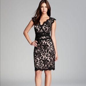 Tadashi Shoji Black Scallop Neckline Lace Dress